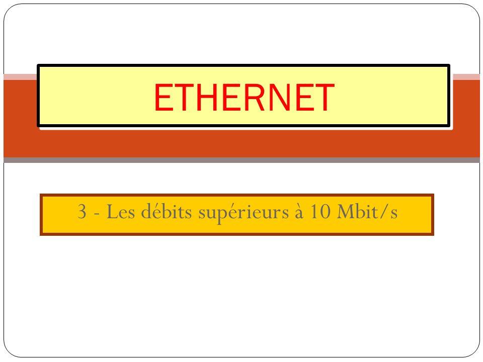 3 - Les débits supérieurs à 10 Mbit/s ETHERNET