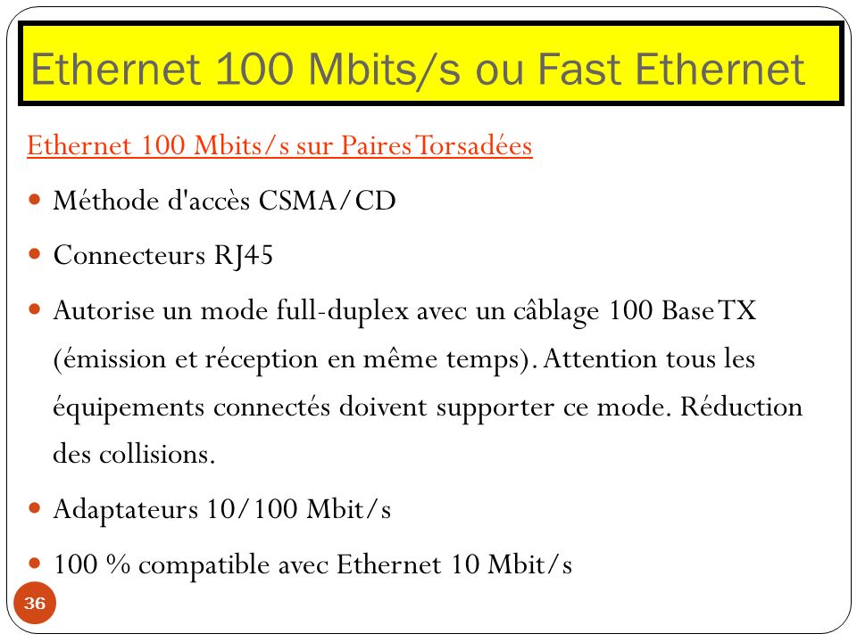 Ethernet 100 Mbits/s ou Fast Ethernet 36 Ethernet 100 Mbits/s sur Paires Torsadées Méthode d'accès CSMA/CD Connecteurs RJ45 Autorise un mode full-dupl