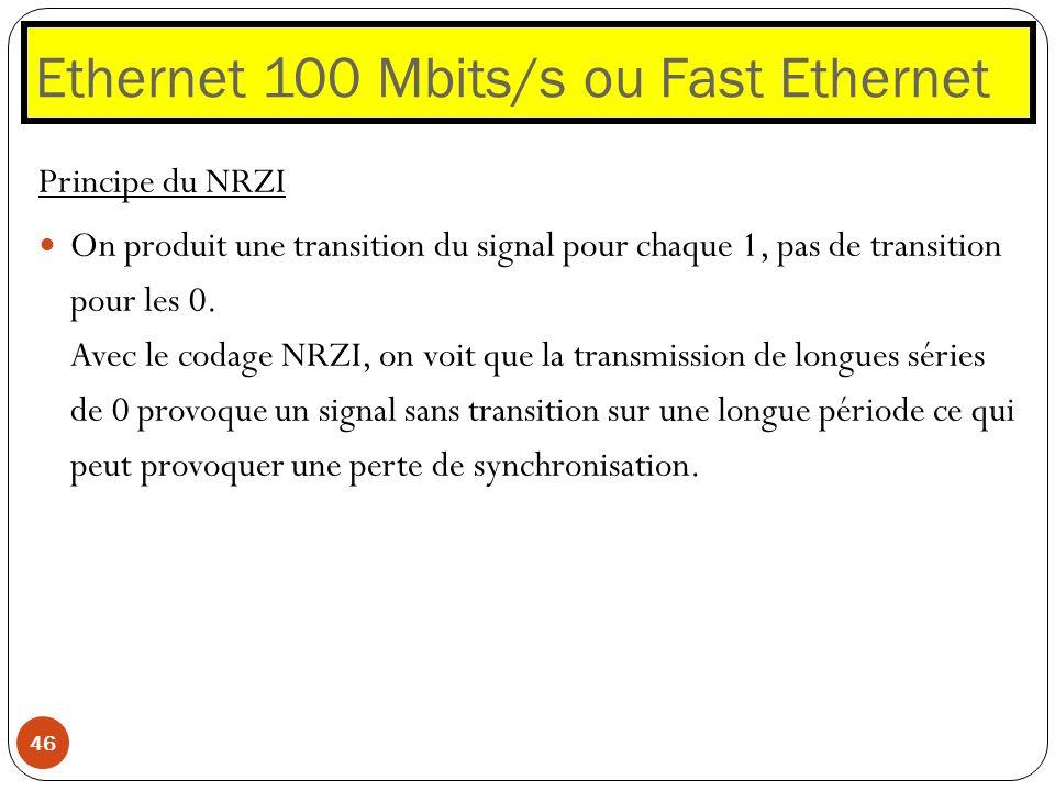 Ethernet 100 Mbits/s ou Fast Ethernet 46 Principe du NRZI On produit une transition du signal pour chaque 1, pas de transition pour les 0. Avec le cod