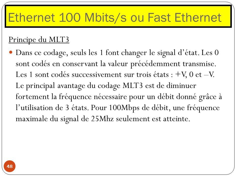 Ethernet 100 Mbits/s ou Fast Ethernet 48 Principe du MLT3 Dans ce codage, seuls les 1 font changer le signal détat. Les 0 sont codés en conservant la