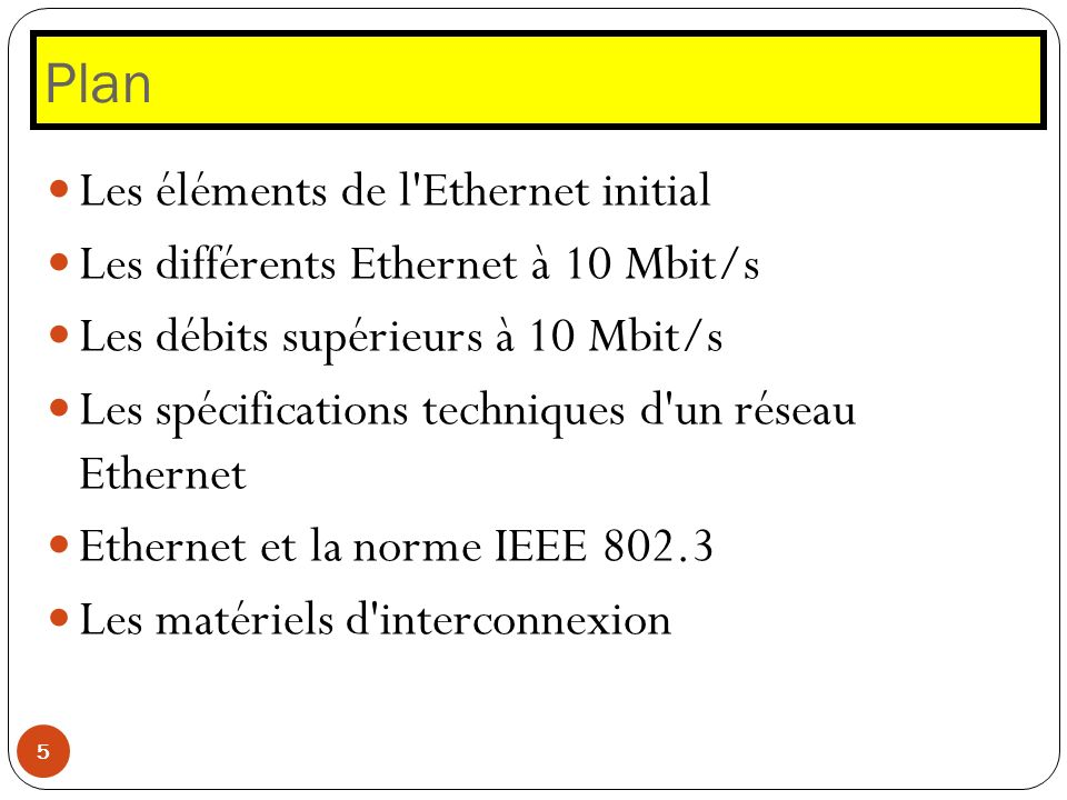 Plan 5 Les éléments de l'Ethernet initial Les différents Ethernet à 10 Mbit/s Les débits supérieurs à 10 Mbit/s Les spécifications techniques d'un rés