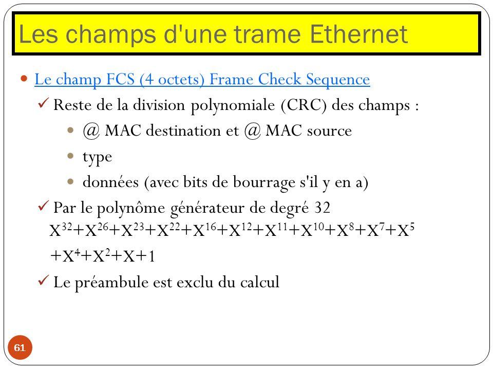 Les champs d'une trame Ethernet 61 Le champ FCS (4 octets) Frame Check Sequence Reste de la division polynomiale (CRC) des champs : @ MAC destination