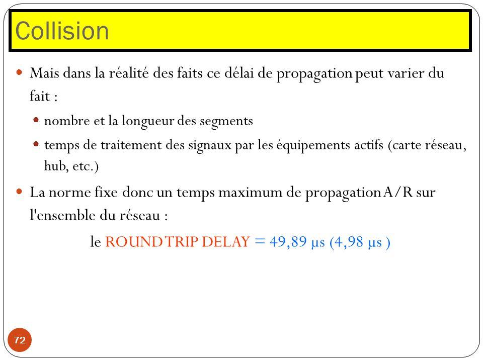 Collision 72 Mais dans la réalité des faits ce délai de propagation peut varier du fait : nombre et la longueur des segments temps de traitement des s