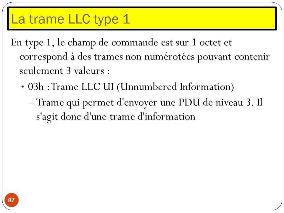 La trame LLC type 1 87 En type 1, le champ de commande est sur 1 octet et correspond à des trames non numérotées pouvant contenir seulement 3 valeurs