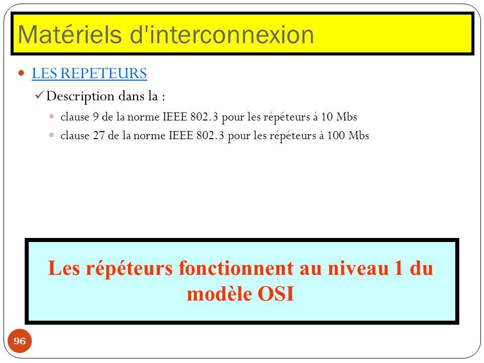 Matériels d'interconnexion 96 LES REPETEURS Description dans la : clause 9 de la norme IEEE 802.3 pour les répéteurs à 10 Mbs clause 27 de la norme IE