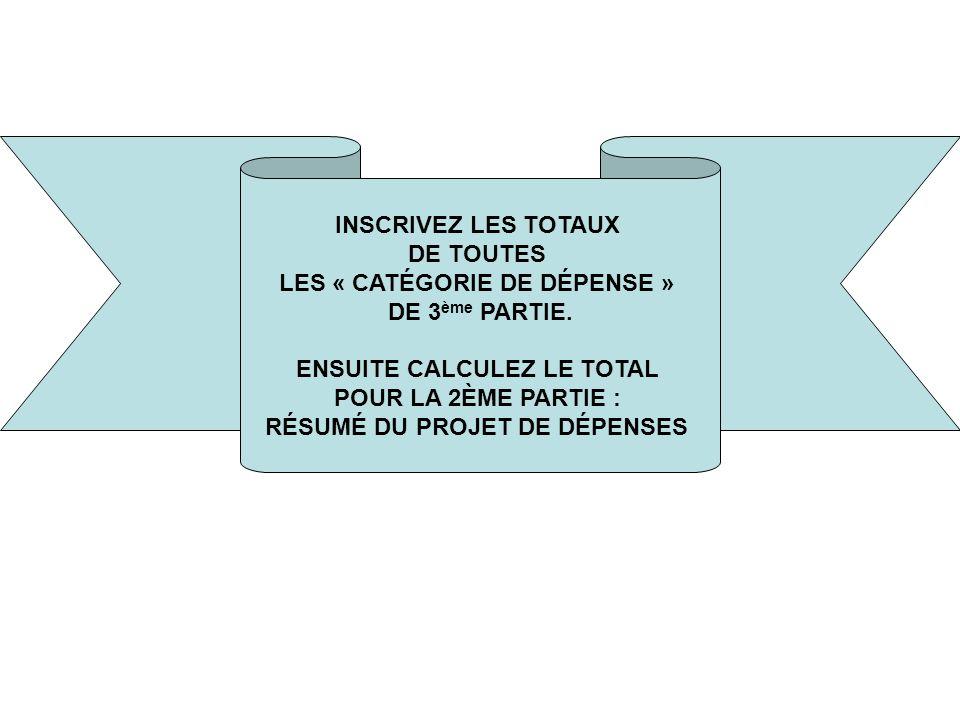INSCRIVEZ LES TOTAUX DE TOUTES LES « CATÉGORIE DE DÉPENSE » DE 3 ème PARTIE.