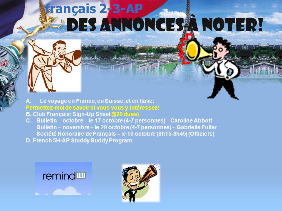 français 3 le 9-10 octobre 2013 Activités (Avec le partenaire donné!)Classeur I.