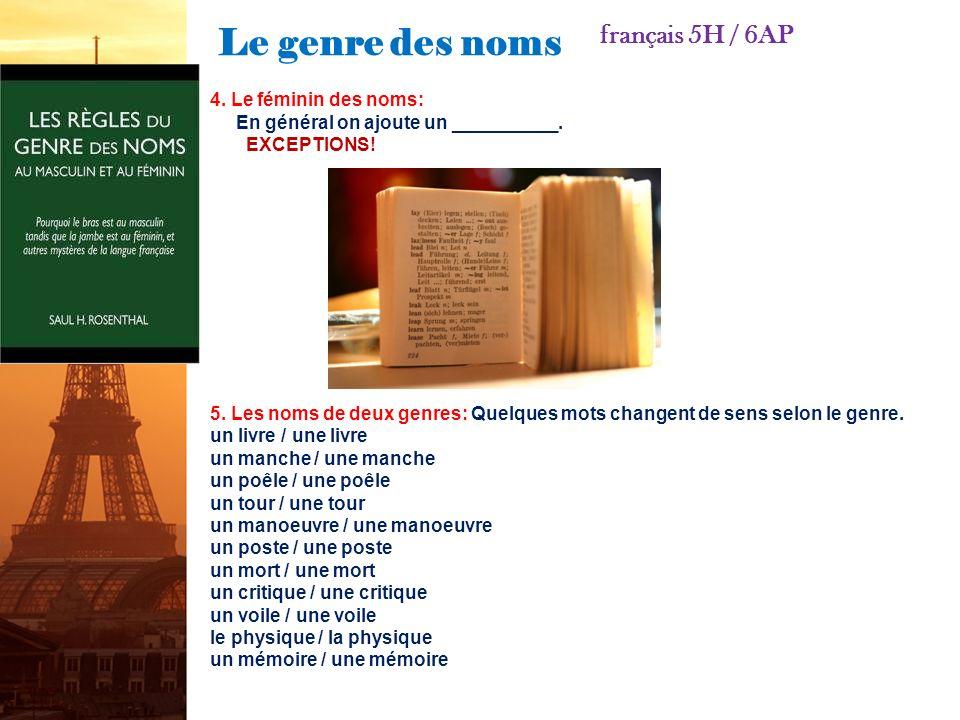 Le genre des noms français 5H / 6AP 1.