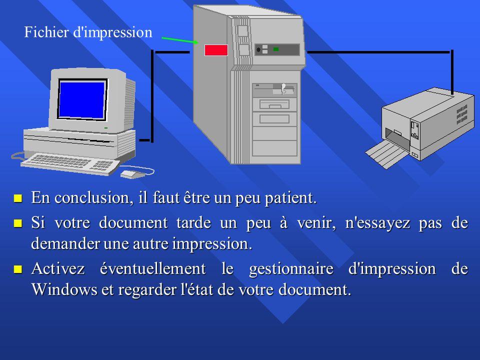 n En conclusion, il faut être un peu patient. n Si votre document tarde un peu à venir, n'essayez pas de demander une autre impression. n Activez éven