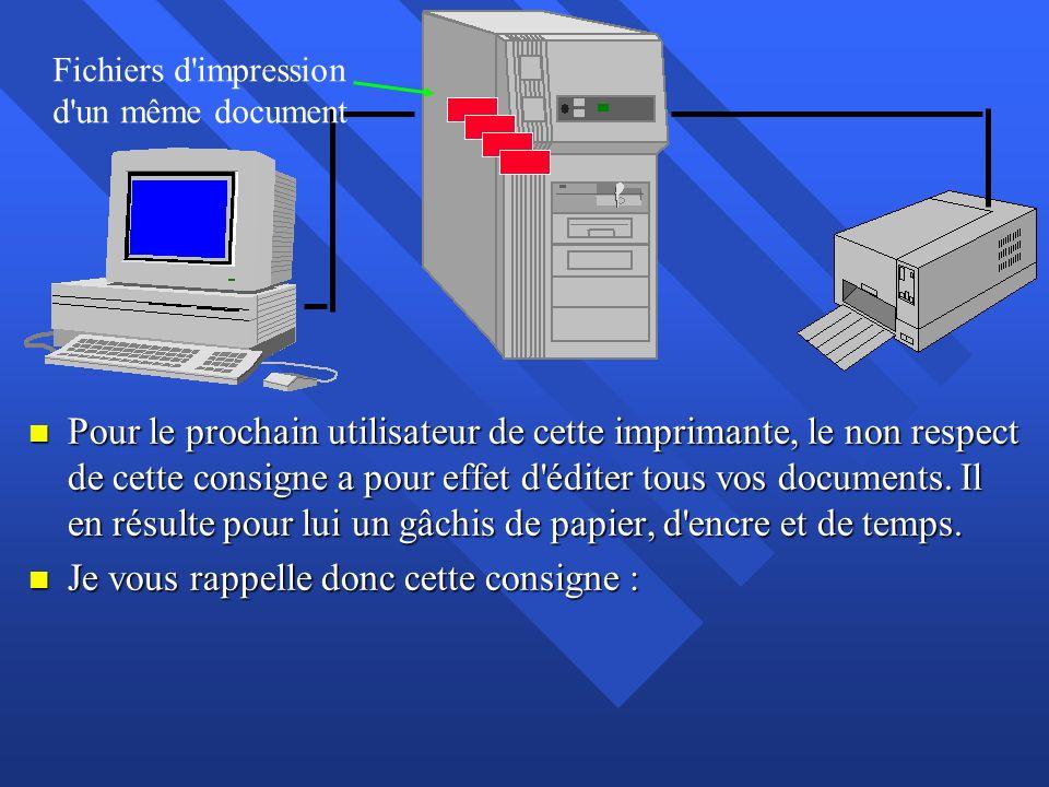 n Pour le prochain utilisateur de cette imprimante, le non respect de cette consigne a pour effet d'éditer tous vos documents. Il en résulte pour lui