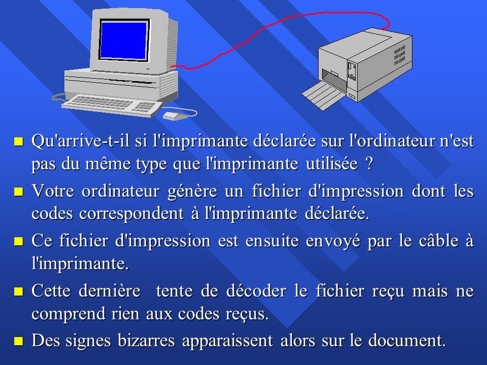 n Qu'arrive-t-il si l'imprimante déclarée sur l'ordinateur n'est pas du même type que l'imprimante utilisée ? n Votre ordinateur génère un fichier d'i
