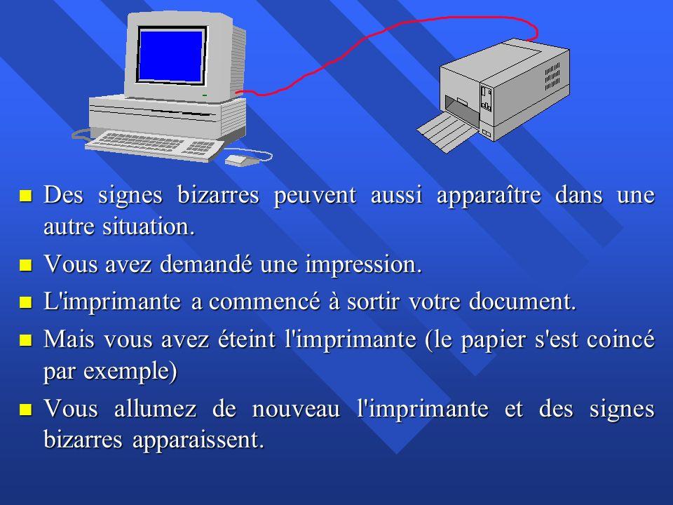 n Les premiers codes du fichier sont bien arrivés à l imprimante.