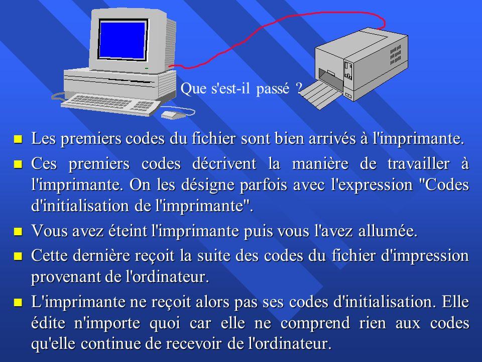 n Les premiers codes du fichier sont bien arrivés à l'imprimante. n Ces premiers codes décrivent la manière de travailler à l'imprimante. On les désig