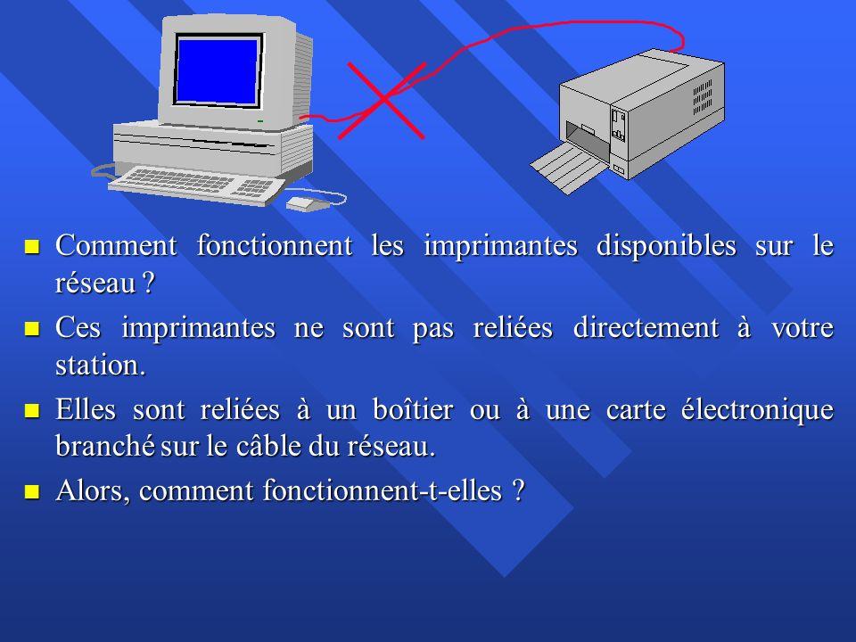 n Sur le réseau, stations de travail, serveur et imprimantes sont reliés par un câble noir par lequel l information circule.
