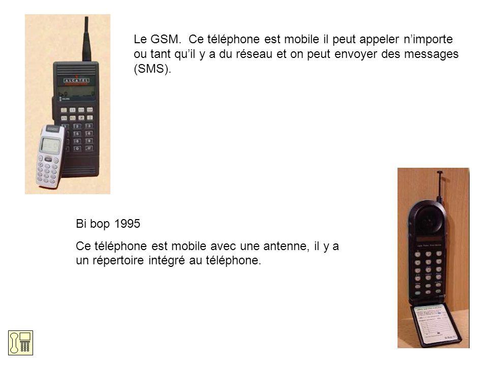 Le GSM. Ce téléphone est mobile il peut appeler nimporte ou tant quil y a du réseau et on peut envoyer des messages (SMS). Bi bop 1995 Ce téléphone es