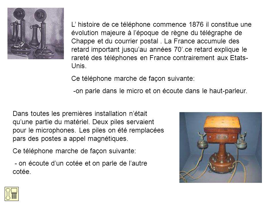L histoire de ce téléphone commence 1876 il constitue une évolution majeure à lépoque de règne du télégraphe de Chappe et du courrier postal. La Franc
