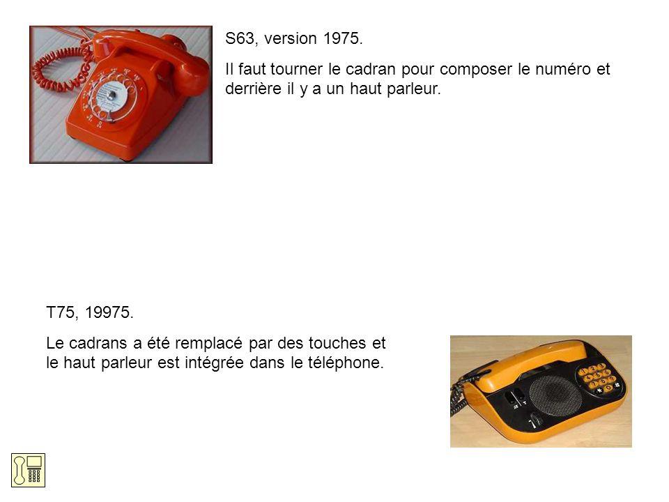 S63, version 1975. Il faut tourner le cadran pour composer le numéro et derrière il y a un haut parleur. T75, 19975. Le cadrans a été remplacé par des