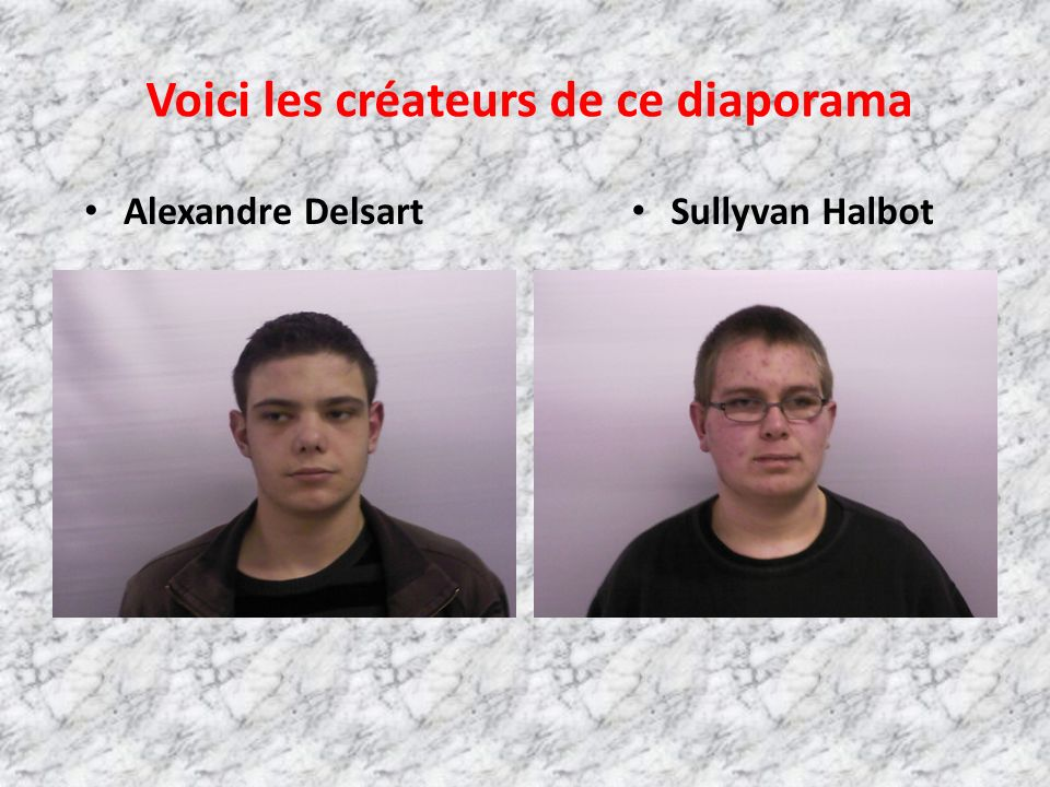 Voici les créateurs de ce diaporama Alexandre Delsart Sullyvan Halbot