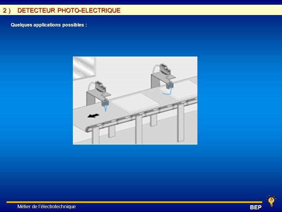 Métier de lélectrotechnique Métier de lélectrotechniqueBEP 2 ) DETECTEUR PHOTO-ELECTRIQUE Quelques applications possibles :