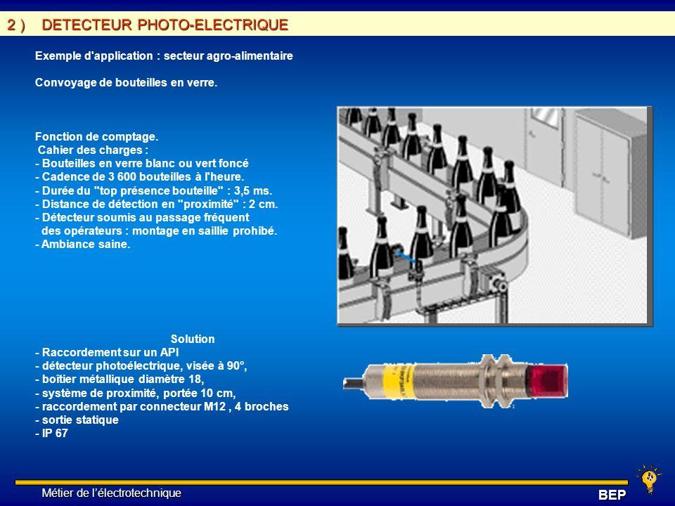 Métier de lélectrotechnique Métier de lélectrotechniqueBEP 2 ) DETECTEUR PHOTO-ELECTRIQUE Exemple d'application : secteur agro-alimentaire Convoyage d