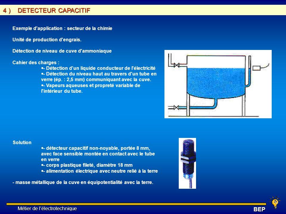 Métier de lélectrotechnique Métier de lélectrotechniqueBEP 4 ) DETECTEUR CAPACITIF Exemple d'application : secteur de la chimie Unité de production d'