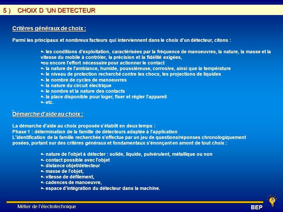 Métier de lélectrotechnique Métier de lélectrotechniqueBEP 5 ) CHOIX D UN DETECTEUR Critères généraux de choix : Parmi les principaux et nombreux fact