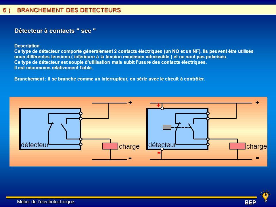 Métier de lélectrotechnique Métier de lélectrotechniqueBEP 6 ) BRANCHEMENT DES DETECTEURS Détecteur à contacts