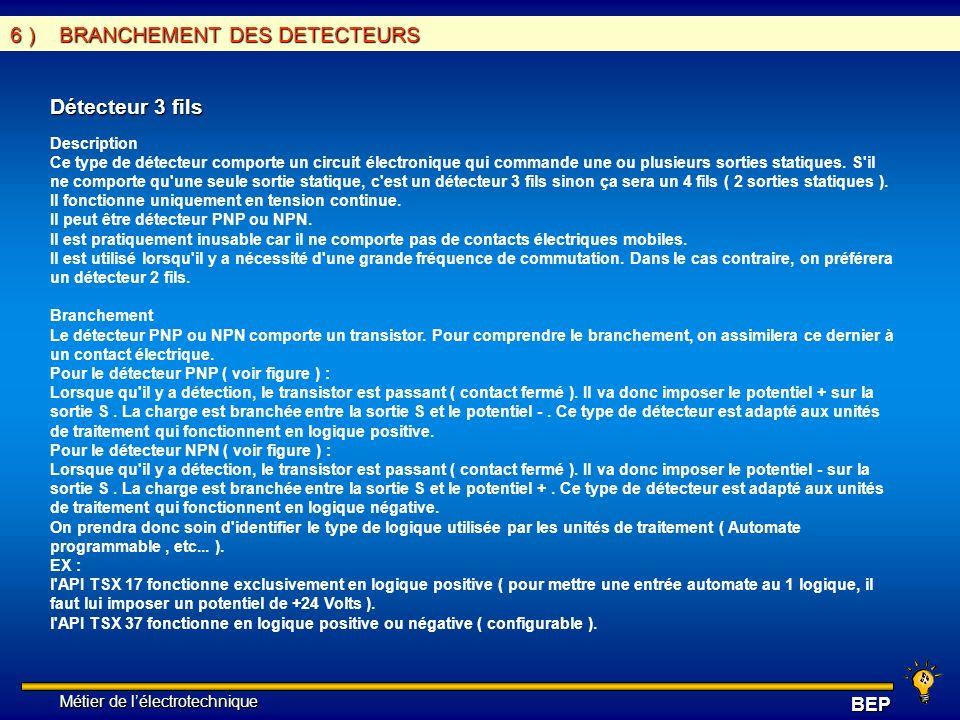 Métier de lélectrotechnique Métier de lélectrotechniqueBEP 6 ) BRANCHEMENT DES DETECTEURS Détecteur 3 fils Description Ce type de détecteur comporte u