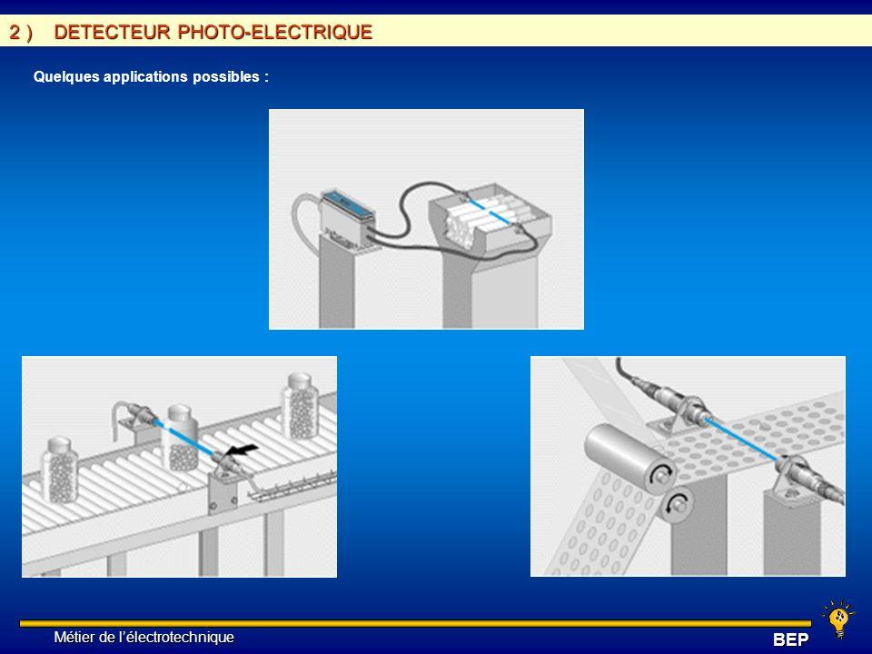 Métier de lélectrotechnique Métier de lélectrotechniqueBEP 3 ) DETECTEUR INDUCTIF Cette famille est réservée à la détection de présence d objets métalliques et se différencie par les points forts suivants : - pas de contact physique avec l objet (pas d usure), possibilité de détecter la présence d objets fraîchement peints ou de surfaces fragiles, - cadences de fonctionnement élevées en parfaite adéquation avec les modules ou les automatismes électroniques - grandes vitesses d attaque pour la prise en compte d informations de courte durée - produits entièrement enrobés dans une résine, pour une très bonne tenue aux environnements industriels agressifs - produits statiques (pas de pièces en mouvement) pour une durée de vie indépendante du nombre de cycles de manoeuvres - visualisation de l état de la sortie.