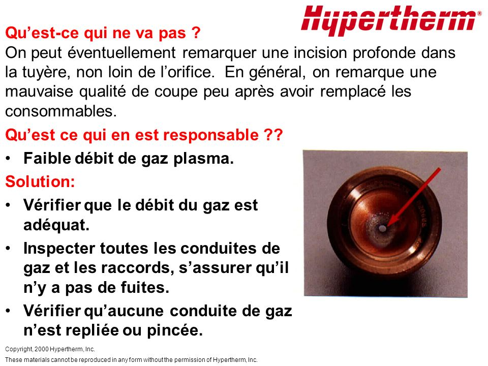 Copyright, 2000 Hypertherm, Inc. These materials cannot be reproduced in any form without the permission of Hypertherm, Inc. Quest-ce qui ne va pas ?