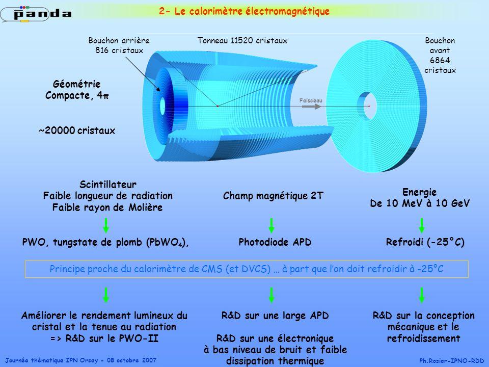 Journée thématique IPN Orsay - 08 octobre 2007 Ph.Rosier-IPNO-RDD 2- Le calorimètre électromagnétique PWO, tungstate de plomb (PbWO 4 ), Energie De 10