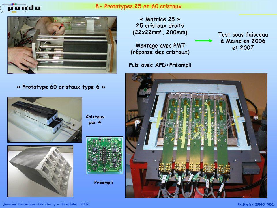 Journée thématique IPN Orsay - 08 octobre 2007 Ph.Rosier-IPNO-RDD 8- Prototypes 25 et 60 cristaux « Matrice 25 » 25 cristaux droits (22x22mm 2, 200mm)