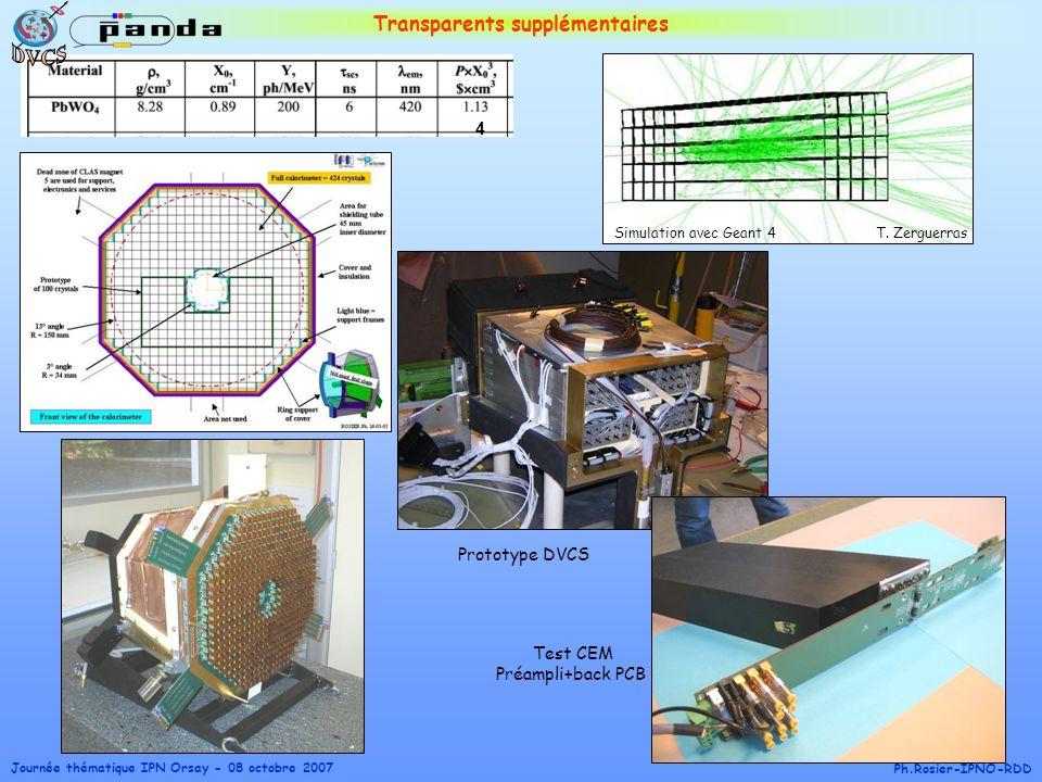 Journée thématique IPN Orsay - 08 octobre 2007 Ph.Rosier-IPNO-RDD Transparents supplémentaires T. ZerguerrasSimulation avec Geant 4 4 Prototype DVCS T