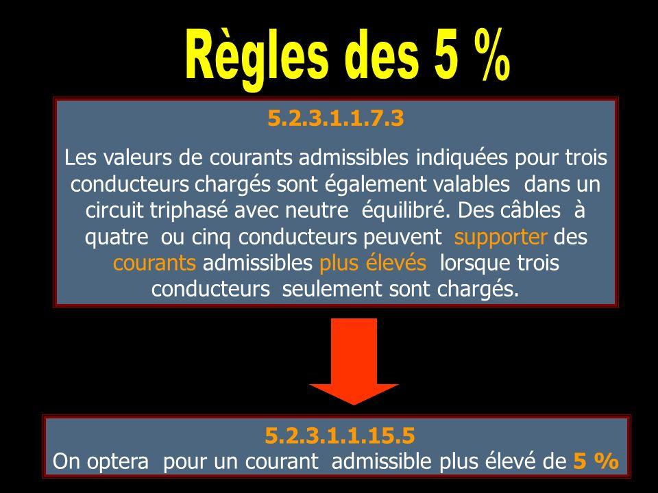8 câbles 3PNE 20A Facteur de réduction groupement : 0.52 20 : 0.52 = 38.5 A B2 donc 10 mm 2 (5.2.3.1.1.11.13) 8 câbles 3PNE 20A Facteur de correction