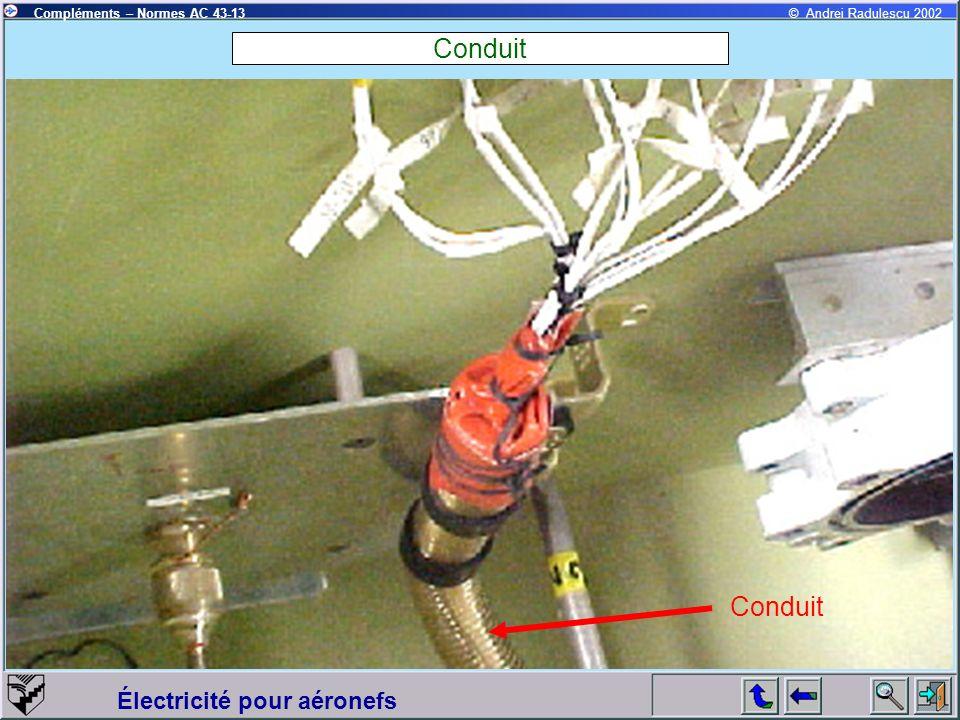 Électricité pour aéronefs Compléments – Normes AC 43-13© Andrei Radulescu 2002 Conduit