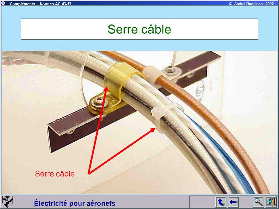 Électricité pour aéronefs Compléments – Normes AC 43-13© Andrei Radulescu 2002 Serre câble
