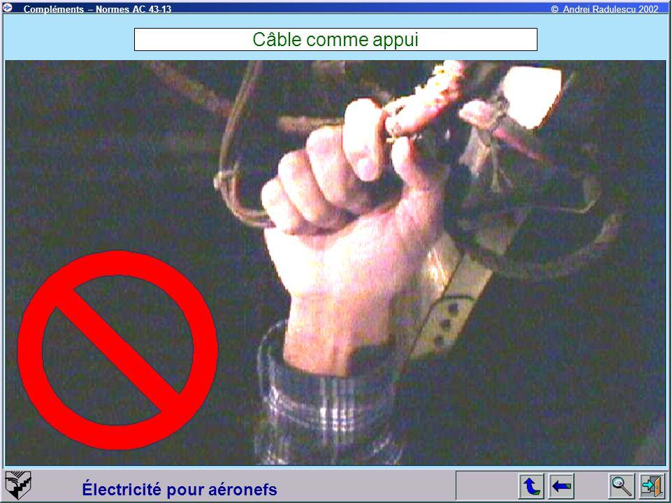 Électricité pour aéronefs Compléments – Normes AC 43-13© Andrei Radulescu 2002 Câble comme appui