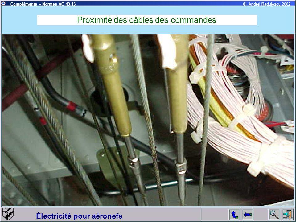 Électricité pour aéronefs Compléments – Normes AC 43-13© Andrei Radulescu 2002 Proximité des câbles des commandes