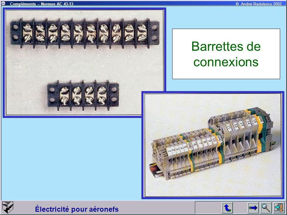 Électricité pour aéronefs Compléments – Normes AC 43-13© Andrei Radulescu 2002 Barrettes de connexions
