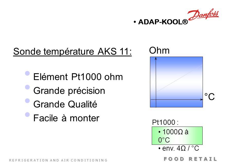 R E F R I G E R A T I O N A N D A I R C O N D I T I O N I N G F O O D R E T A I L Sonde température AKS 11: Elément Pt1000 ohm Grande précision Grande