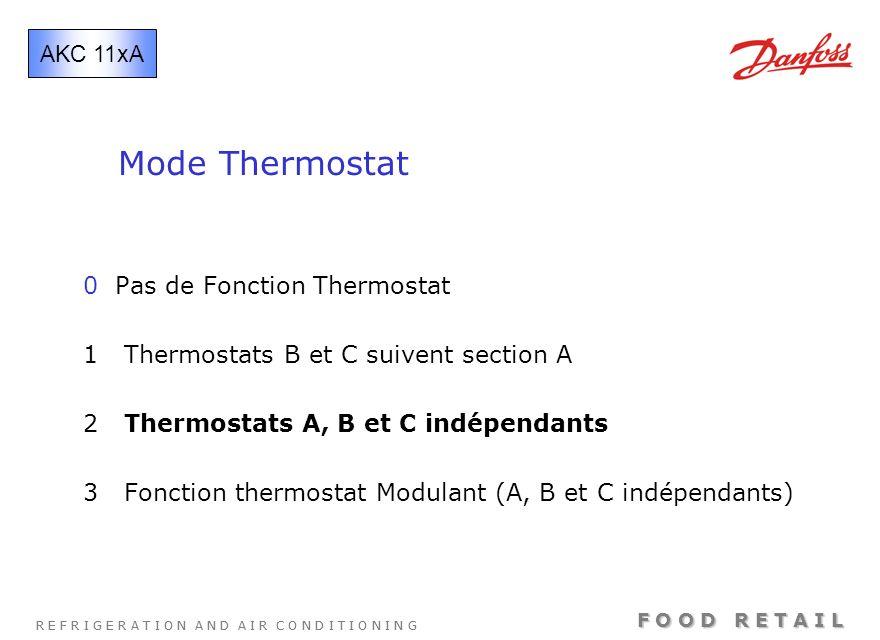 R E F R I G E R A T I O N A N D A I R C O N D I T I O N I N G F O O D R E T A I L Mode Thermostat 0 Pas de Fonction Thermostat 1 Thermostats B et C su