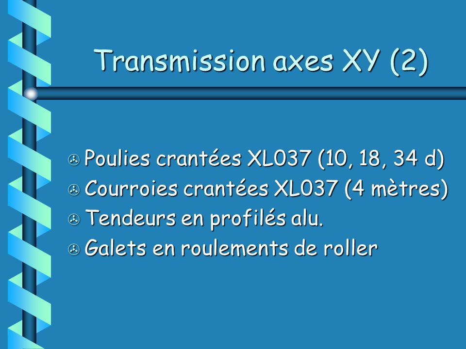 Transmission axes XY (2) > Poulies crantées XL037 (10, 18, 34 d) > Courroies crantées XL037 (4 mètres) > Tendeurs en profilés alu.