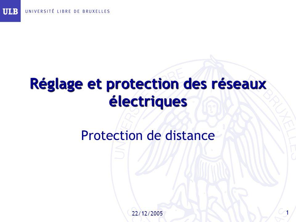1 22/12/2005 Réglage et protection des réseaux électriques Protection de distance