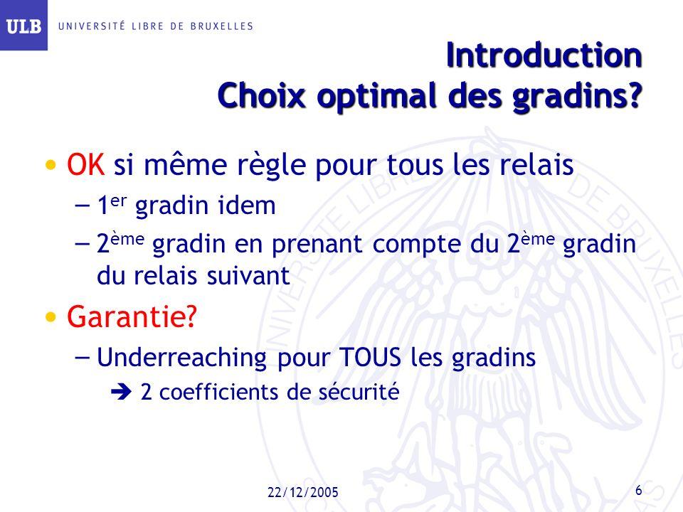 22/12/2005 6 Introduction Choix optimal des gradins? Introduction Choix optimal des gradins? OK si même règle pour tous les relais – 1 er gradin idem