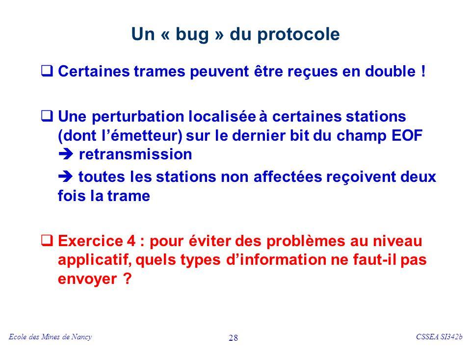 Ecole des Mines de NancyCSSEA SI342b 28 Un « bug » du protocole Certaines trames peuvent être reçues en double ! Une perturbation localisée à certaine