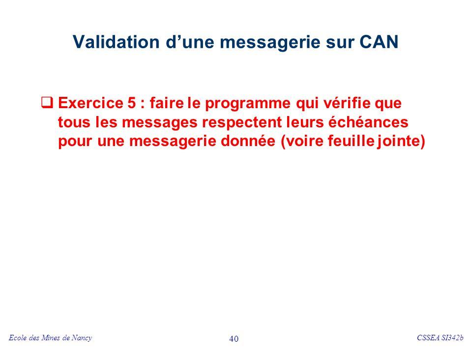 Ecole des Mines de NancyCSSEA SI342b 40 Validation dune messagerie sur CAN Exercice 5 : faire le programme qui vérifie que tous les messages respectent leurs échéances pour une messagerie donnée (voire feuille jointe)