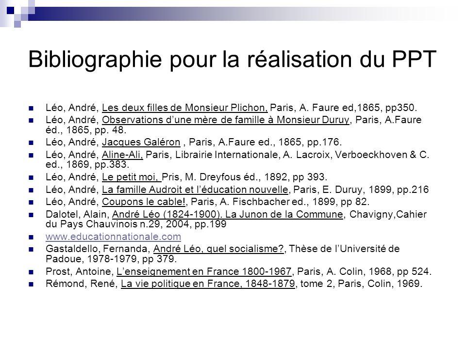 Bibliographie pour la réalisation du PPT Léo, André, Les deux filles de Monsieur Plichon, Paris, A.
