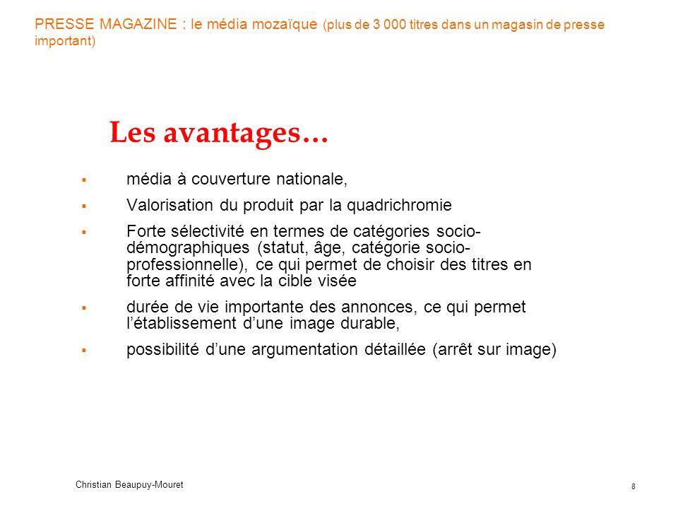 19 Christian Beaupuy-Mouret Quizz Presse (suite) En Presse Quotidienne et Magazine, le tirage est le nombre dexemplaires en contact avec au moins 1 lecteur –VRAI ( )FAUX ( ) Le taux de circulation dun support dépend...
