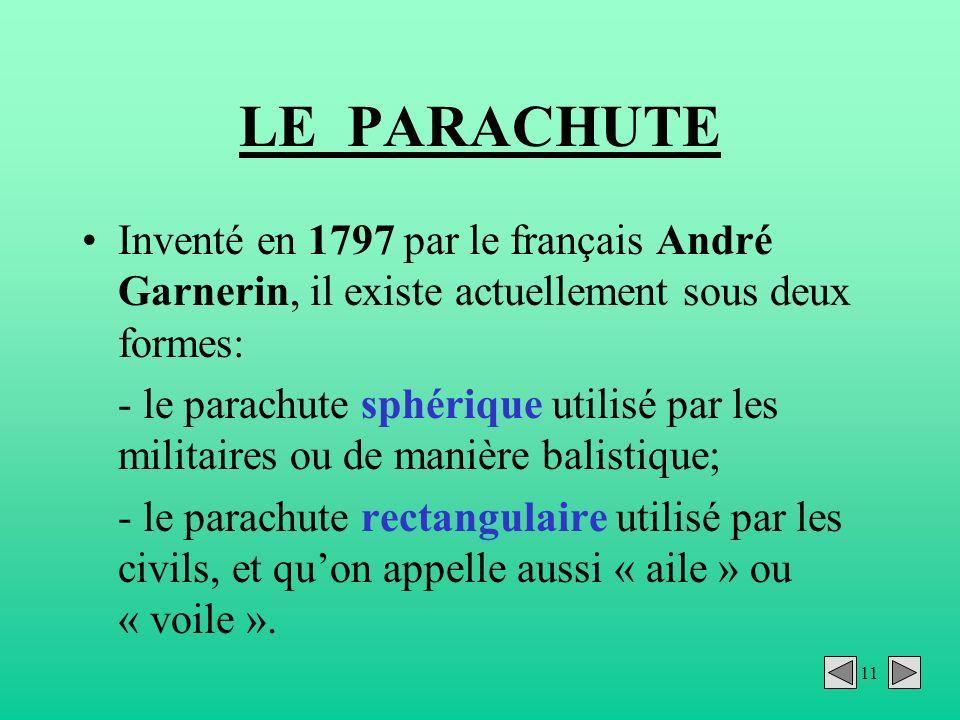 11 LE PARACHUTE Inventé en 1797 par le français André Garnerin, il existe actuellement sous deux formes: - le parachute sphérique utilisé par les mili
