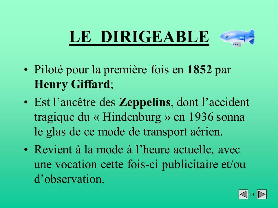 14 LE DIRIGEABLE Piloté pour la première fois en 1852 par Henry Giffard; Est lancêtre des Zeppelins, dont laccident tragique du « Hindenburg » en 1936